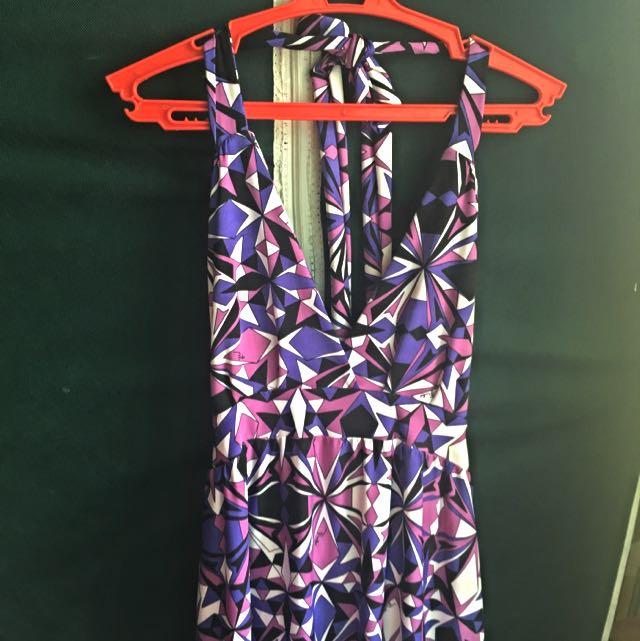 Purple & Black Maxi Dress