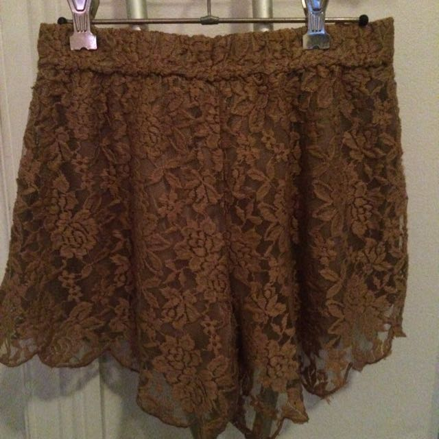 Sabo Skirt Brown Lace Shorts 8