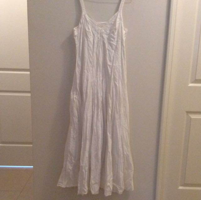 Scrunched White Maxi Dress