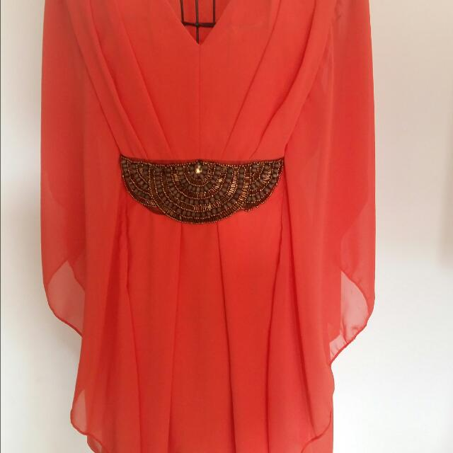 Stunning Orange Fully Lined Gold Beaded Dress/or Tunic Top
