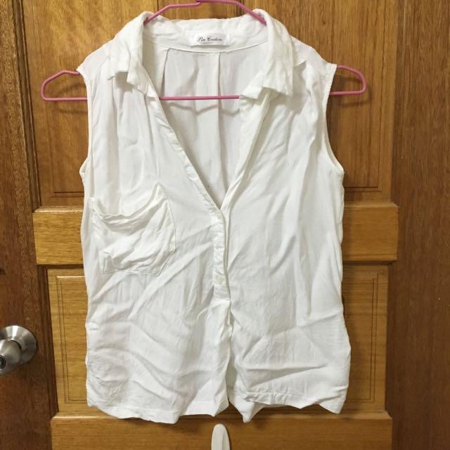棉質白素T無袖襯衫立領米白