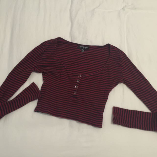 Topshop Red And Black Stripe Top