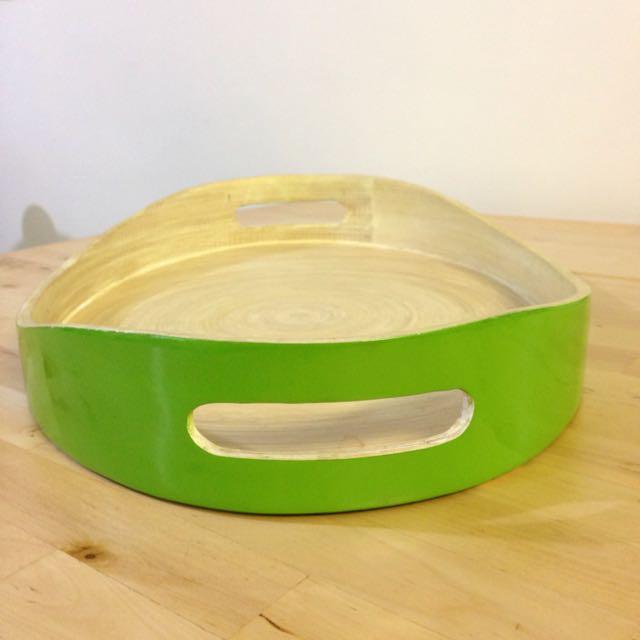 Price Reduce! Vietnamese Bamboo Press Apple Green Tray