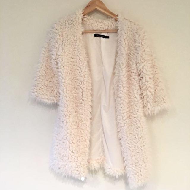 White Fluffy Jacket Size XS-S