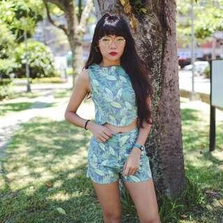 樹葉仙子の無袖上衣+高腰短褲套裝