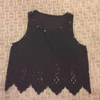 Scalloped Studded Tank Top