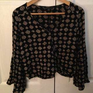 Patterned Blouse Bell Sleeves