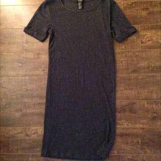 Knit T-Shirt Dress Dark Grey