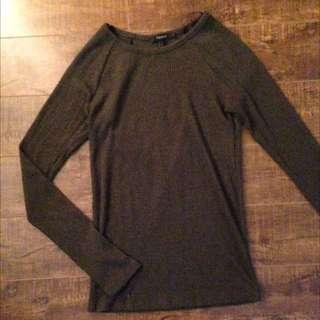 Long Sleeve Knit Dark Green Top