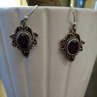 Sterling Silver dark purple gemstone earings
