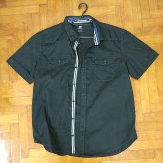 BN Lee Black Short Sleeved Shirt