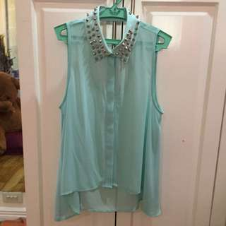 Teal Sheer Top With Spiked Collar