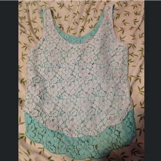 Aritzia White And Light Blue Lace Tank Too