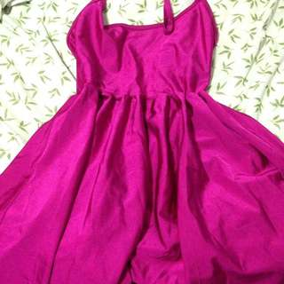 American Apparel Hot Pink Backless Spaghetti Strap Dress