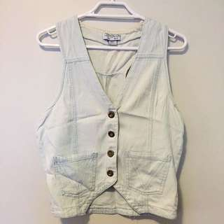 Cotton On Bleached Denim Vest (light blue)