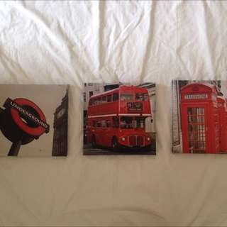 3x Small London Canvases