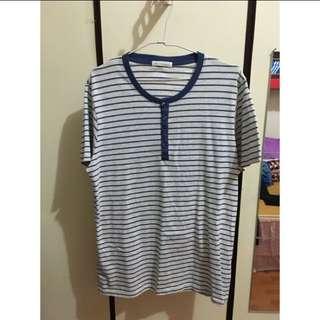 Lativ 短袖 海洋風 條紋T-shirt L