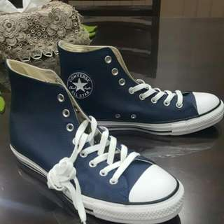 Converse All Stars High Top Leather Shoes Blue Men's Size 9 Women's Size 11 Unisex