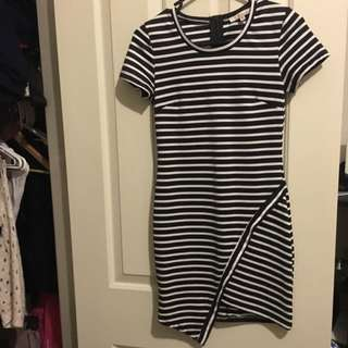 Striped Dress With Side Cut