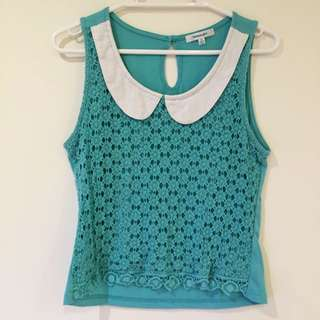 Valleygirl Mint Top with Peter Pan collar