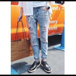✨限時特惠原價890✨韓版 修身 刷破 水洗 九分 牛仔褲💥