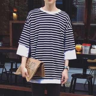 ✨韓版 寬鬆 落肩 條紋 假兩件 五分袖 T恤✨