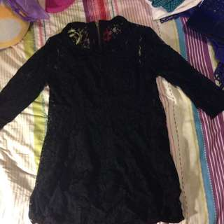 Bardot Black Lacey Skater Dress