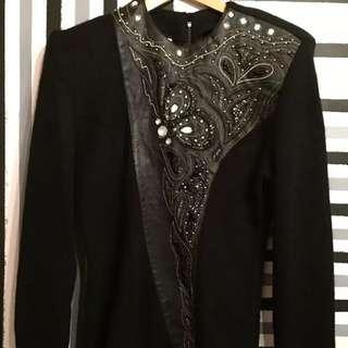 Joseph Ho Vintage Retro Black Leather Beaded Sequined Lambs wool Angora Jumper Top Size S