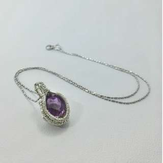 Custom Handmade Amethyst necklace with sterling silver