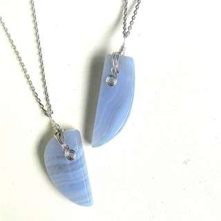Blue Lace Agate Couple necklace