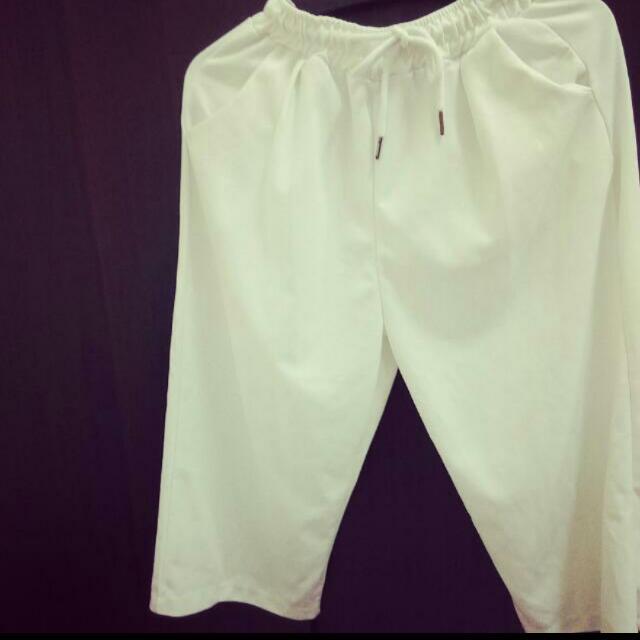 白色寬褲/七分寬褲