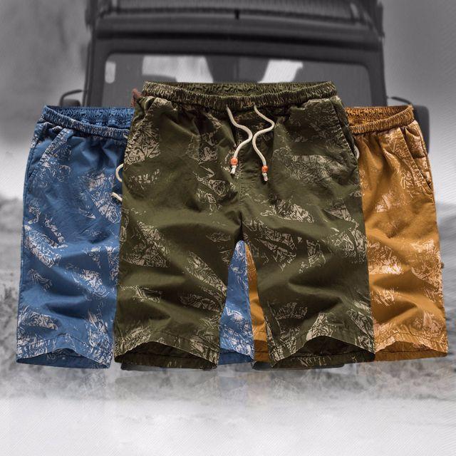 三色-壓痕仿舊休閒短褲 海灘褲(斜口袋)