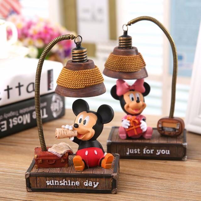 創意工藝迪士尼卡通米奇小夜燈 米妮小夜燈 檯燈 家居擺設 生日禮物