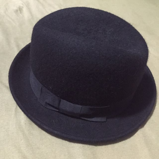 :: 日本購回 紳士帽 寬帽沿 保存良好手手黑紳士帽 男女小孩皆可著用 ::