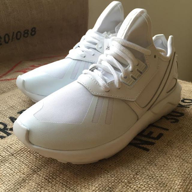 :: 降ADIDAS TUBULAR RUNNER WHITE歐洲正品未落地 女鞋全白 稀有小尺碼22.5 ::