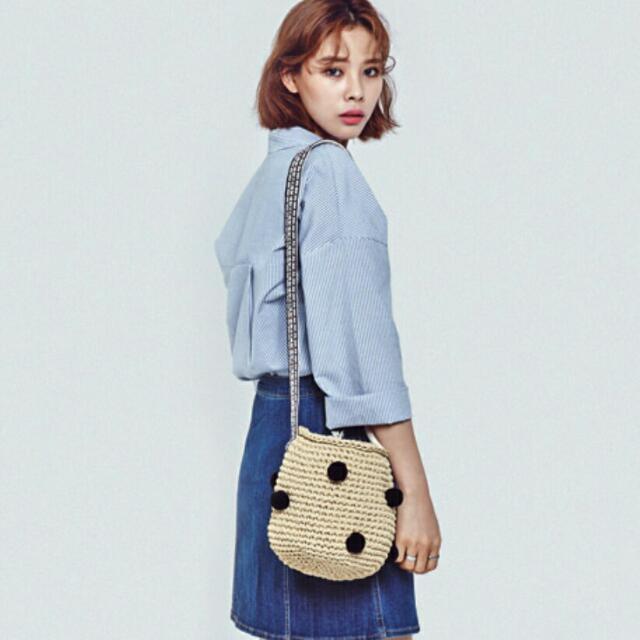 [現貨米色黑球已在y拍售出!有需要的可私訊幫您訂購唷^_^] PinkZebra韓國百貨品牌/民族風手工編織水桶包