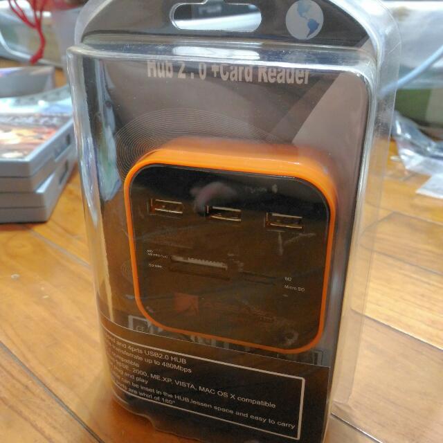 (再降!)多功能讀卡機 外加USB分享器 翻譯  多功能讀卡機 USB分享器  Multi-function Card Reader with USB Sharing Device