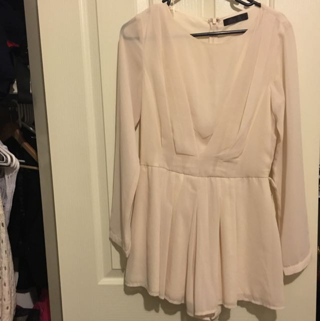 Ally Fashion Beige Long Sleeved Shirt Jumpsuit
