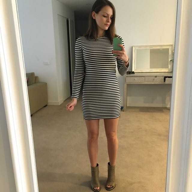 Bec And Bridge Striped Long Sleeve Dress Size 6