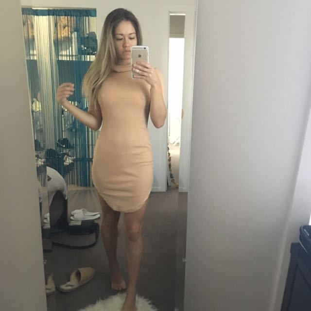 Beige/Nude Ribbed Dress With Cowl Neck
