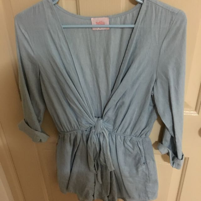 Blue Denim Playsuit, Size 10