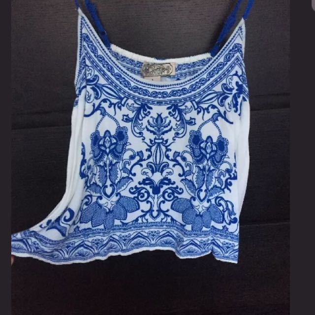 Boho Printed Cropped Swing Cami Size S