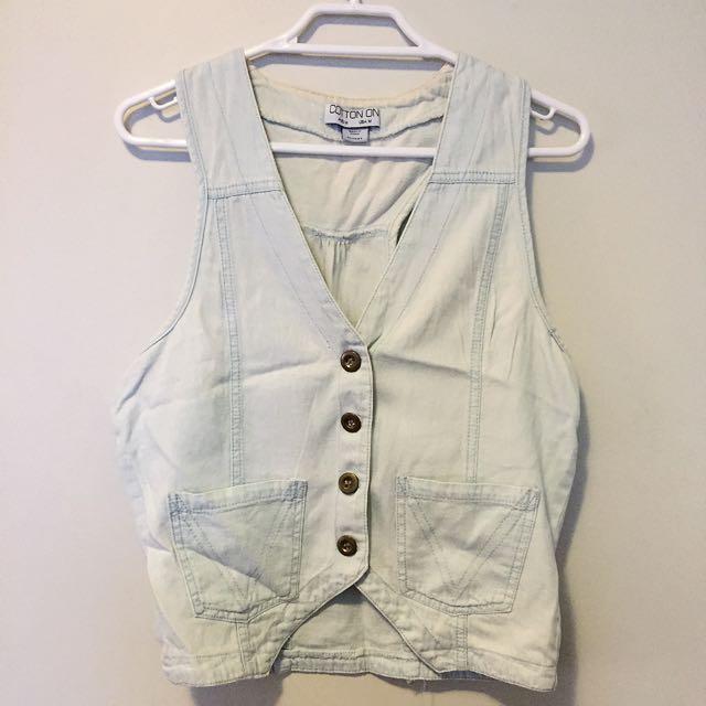 Cotton On Bleached Denim Vest (light blue)