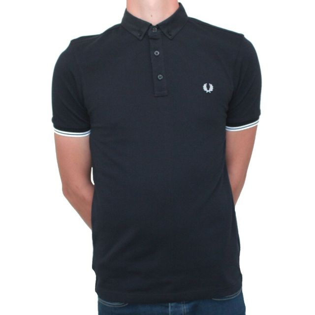 Fred Perry Woven Collar Pique Shirt Navy M9525 Sizes Medium & Large avaliable