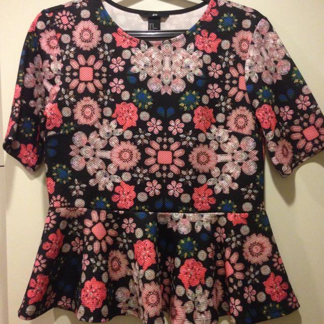 H&M Floral Peplum top