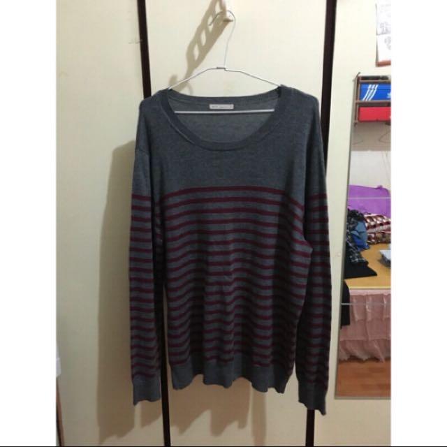 Lativ 灰底紅條紋針織衫 XL