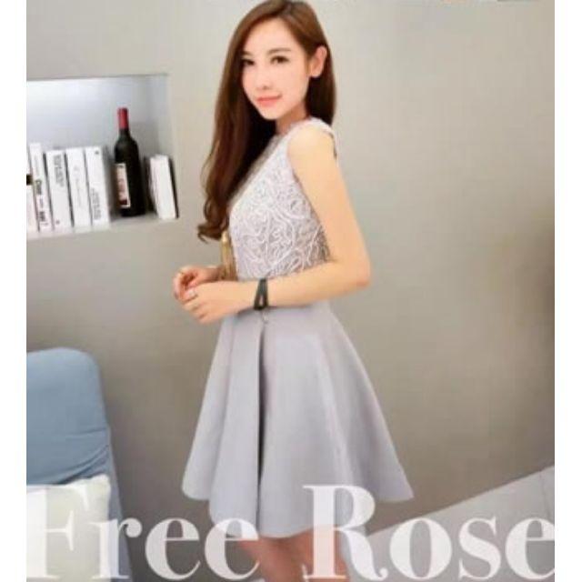 「現貨灰XL」絲刺繡蓬蓬連衣裙 洋裝 31296 5188