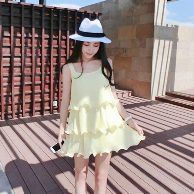 「現貨淺綠M」蛋糕裙襬 無袖 渡假洋裝 11561