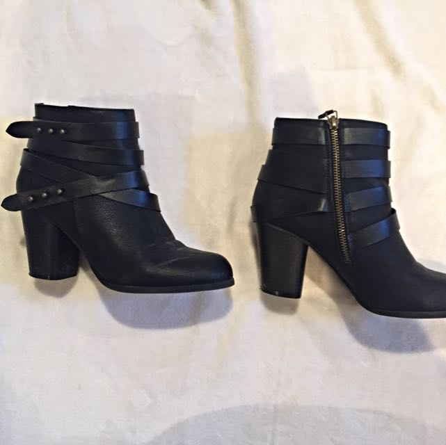 Madden Girl Black Faux Leather Booties