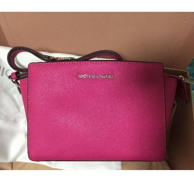 3c51efc670ea MICHAEL Kors Selma Saffiano Crossbody Sling Bag Fuschia Hot Pink ...